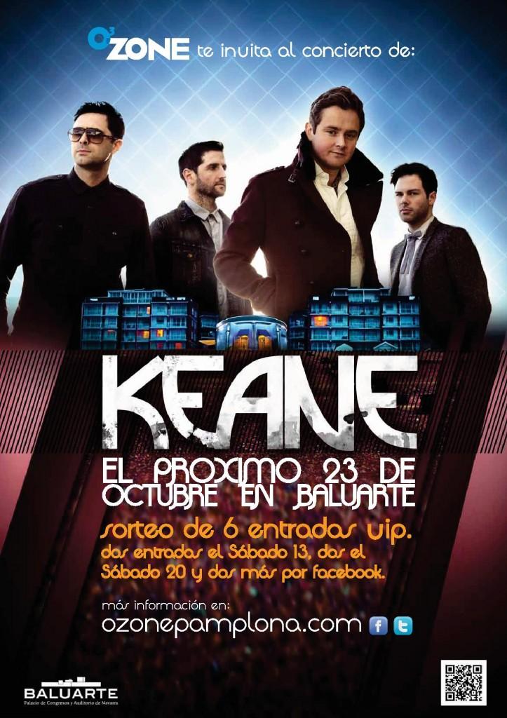 Sorteo de dos entradas VIP para el concierto de Keane en Pamplona
